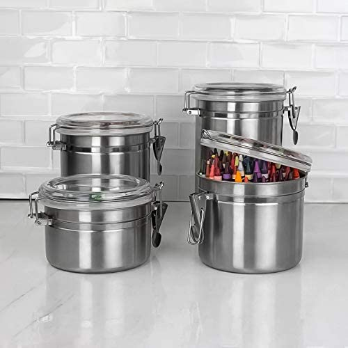 414kIZVy1ML. AC  - Le'raze [Set of 5] Stainless Steel Airtight Canister Set, Durable Stackable Caddy & Food Storage Container for Kitchen Counter, Tea, Sugar, Coffee, Candy, Flour Canister with Clear Acrylic Lids & Locking Clamp