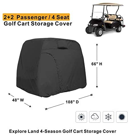416DlSVFB9L. AC  - Explore Land 600D Waterproof Golf Cart Cover Universal Fits for Most Brand 4 Passenger Golf Cart