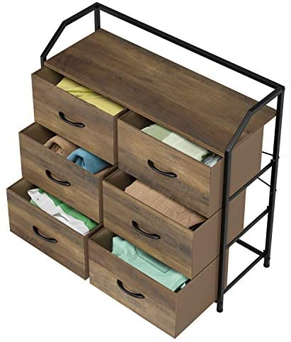 41AJBV51ypL. AC  - HOMECHO Fabric Dresser with 6 Drawers, Wide Chest of Drawers with Wood Top, Sturdy Metal Frame, Furniture Storage Tower for Bedroom, Closets, Hallway, Entryway, Rustic Brown