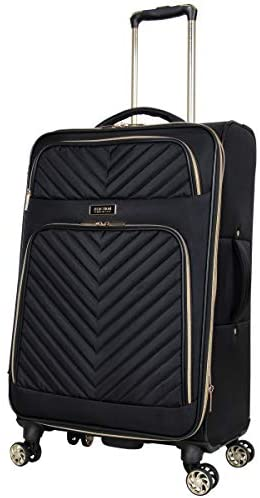 """41CR7nW9vIL. AC  - Kenneth Cole Reaction Women's Chelsea 24"""" Chevron Quilted Softside Expandable 8-Wheel Spinner Checked Suitcase, Black, Inch"""