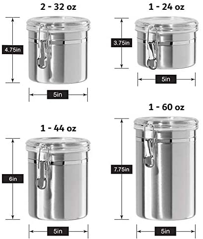 41CgZ1ia3lL. AC  - Le'raze [Set of 5] Stainless Steel Airtight Canister Set, Durable Stackable Caddy & Food Storage Container for Kitchen Counter, Tea, Sugar, Coffee, Candy, Flour Canister with Clear Acrylic Lids & Locking Clamp