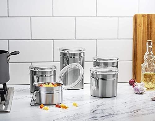 41EV3N9kCMS. AC  - Le'raze [Set of 5] Stainless Steel Airtight Canister Set, Durable Stackable Caddy & Food Storage Container for Kitchen Counter, Tea, Sugar, Coffee, Candy, Flour Canister with Clear Acrylic Lids & Locking Clamp