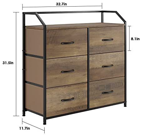41JYh1 zflL. AC  - HOMECHO Fabric Dresser with 6 Drawers, Wide Chest of Drawers with Wood Top, Sturdy Metal Frame, Furniture Storage Tower for Bedroom, Closets, Hallway, Entryway, Rustic Brown