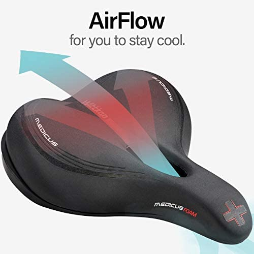 41PulaFQ8hL. AC  - Wittkop Bike Seat [City] Bicycle Seat for Men and Women, Waterproof Bike Saddle with Innovative 5-Zone-Concept Exercise Bike Seat - Wide Bike Seat