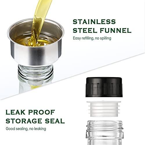 41RsMyA4jhS. AC  - Aozita 17oz Glass Olive Oil Dispenser Bottle - 500ml Clear -Oil & Vinegar Cruet with Pourers and Funnel - Olive Oil Carafe Decanter for Kitchen