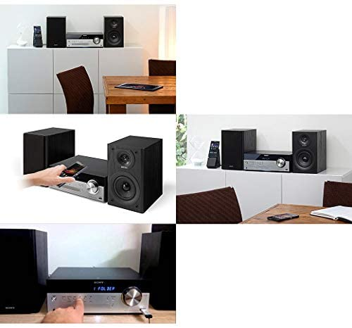 41Y Je8VyNL. AC  - Sony All-in-one Stylish Micro Music Hi-Fi Bookshelf Stereo System for Home with Bluetooth, USB, CD Player & AM/FM Radio + Bundle with Remote + Aux Cable + HeroFiber Cloth, Compatible with Sony System