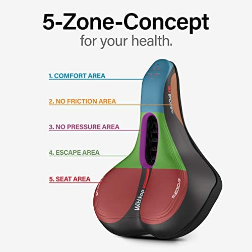 41ZJhUaUpcL. AC  - Wittkop Bike Seat [City] Bicycle Seat for Men and Women, Waterproof Bike Saddle with Innovative 5-Zone-Concept Exercise Bike Seat - Wide Bike Seat