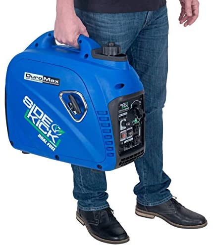 41bZONWHAsL. AC  - DuroMax XP2200EH Dual Fuel Portable Inverter Generator-2200 Watt Gas or Propane Powered Tailgate, Camping & RV Ready, 50 State Approved, Blue