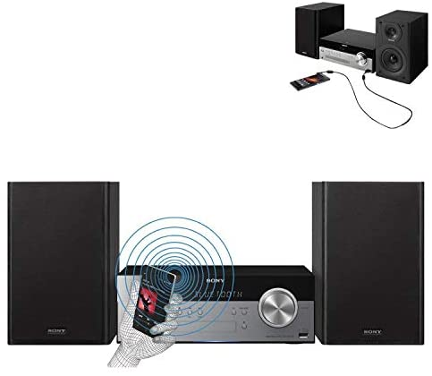 41c+AZMCQDL. AC  - Sony All-in-one Stylish Micro Music Hi-Fi Bookshelf Stereo System for Home with Bluetooth, USB, CD Player & AM/FM Radio + Bundle with Remote + Aux Cable + HeroFiber Cloth, Compatible with Sony System