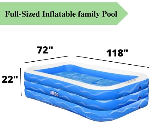 """41f6hgcjA2S. AC  - Inflatable Swimming Pool Family Full-Sized Inflatable Pools 118"""" x 72"""" x 22"""" Thickened Family Lounge Pool for Toddlers, Kids & Adults Oversized Kiddie Pool Outdoor Blow Up Pool for Backyard, Garden"""