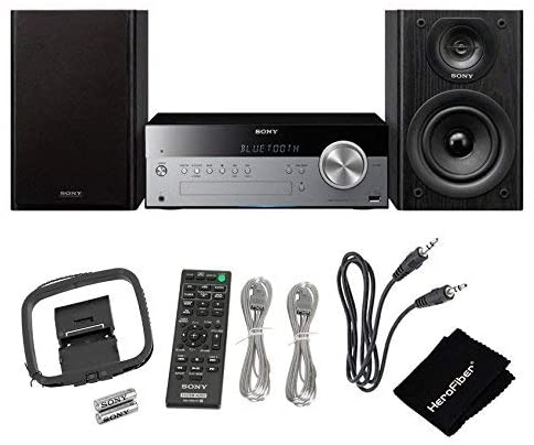 41fPjxpINHL. AC  - Sony All-in-one Stylish Micro Music Hi-Fi Bookshelf Stereo System for Home with Bluetooth, USB, CD Player & AM/FM Radio + Bundle with Remote + Aux Cable + HeroFiber Cloth, Compatible with Sony System