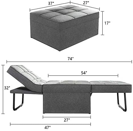 41hjP+xC09L. AC  - Vonanda Ottoman Folding Chair Bed, Modern Velvet Sleeper Sofa Multi-Position Convertible Couch Lounger Guest Bed with Pillow for Small Space, Velvet Gray