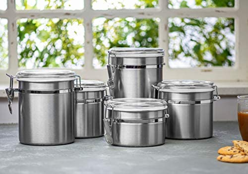 41j6uTFq7sL. AC  - Le'raze [Set of 5] Stainless Steel Airtight Canister Set, Durable Stackable Caddy & Food Storage Container for Kitchen Counter, Tea, Sugar, Coffee, Candy, Flour Canister with Clear Acrylic Lids & Locking Clamp