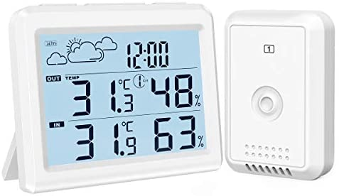 41q4MlP1qnL. AC  - Brifit Weather Station, Digital Indoor Outdoor Thermometer Hygromete, Home Weather Forecaster Station, Wireless Temperature and Humidity Monitor with Remote Sensor, Backlight, Time, Alarm Clock