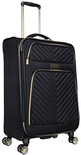 """41sZ5oeJOBL. AC  - Kenneth Cole Reaction Women's Chelsea 24"""" Chevron Quilted Softside Expandable 8-Wheel Spinner Checked Suitcase, Black, Inch"""