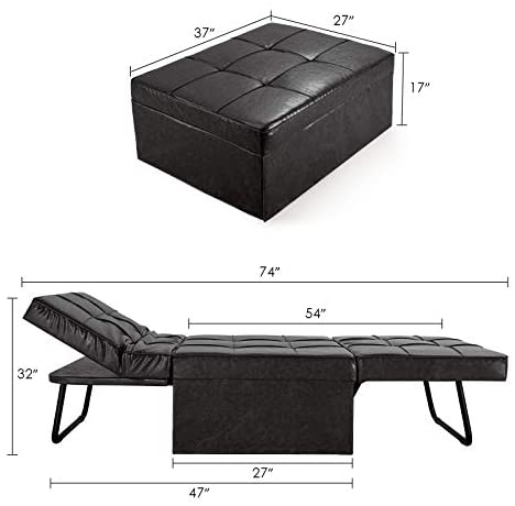 41vgbp8mugL. AC  - Vonanda Leather Ottoman Sofa Bed, Small Modern Couch Multi-Position Convertible Comfortable and Durable Leather Couch Lounger Guest Bed with Pillow for Small Space, Black