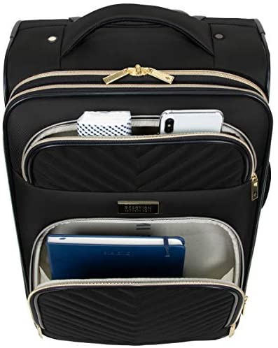 """41y74W0xJnL. AC  - Kenneth Cole Reaction Women's Chelsea 24"""" Chevron Quilted Softside Expandable 8-Wheel Spinner Checked Suitcase, Black, Inch"""