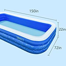"""42ccee16 9a47 4358 ae26 19d133b3dcfe.  CR0,0,300,300 PT0 SX220 V1    - JONYJ Inflatable Pool, 150'' x 72'' x 22"""" Family Full-Sized Inflatable Swimming Pool, Blow Up Pool for Kids, Adults, Toddlers, Oversize Lounge Kiddie Pools for Outdoor, Garden, Backyard"""