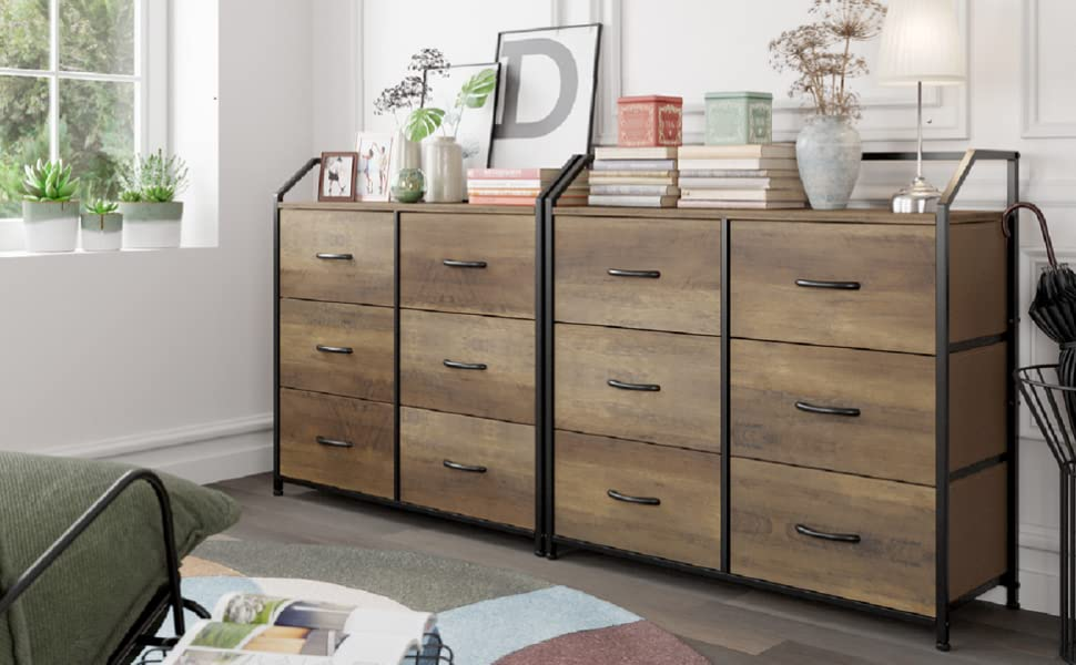 4437f2f1 fd8d 4b60 90ba 2d64b8013104.  CR0,11,973,602 PT0 SX970 V1    - HOMECHO Fabric Dresser with 6 Drawers, Wide Chest of Drawers with Wood Top, Sturdy Metal Frame, Furniture Storage Tower for Bedroom, Closets, Hallway, Entryway, Rustic Brown
