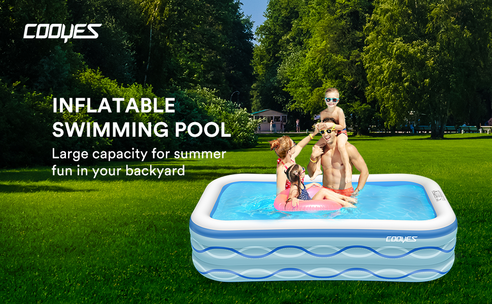 """45ede524 9d90 4e0f b08c 81fb0d0ba8b7.  CR0,0,970,600 PT0 SX970 V1    - COOYES Inflatable Pool, Swimming Pool for Kids 118"""" X 72"""" X 20"""" Full-Sized Inflatable Kiddie Pool for Outdoor, Garden, Summer Water Party"""