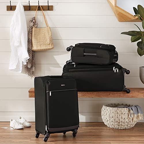 511YLwkyJaL. AC  - Amazon Basics Softside Spinner Luggage Suitcase - 30.9 Inch, Black
