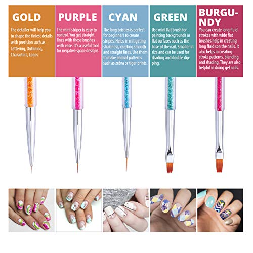 516NgZwKamL - Cizoackle Nail Art Brushes - Double-Ended Brush and Dotting Tool Kit - Elegant Nail Pen Set with Shiny Handles - Easy To Use Professional Liner Tools 5 Pcs