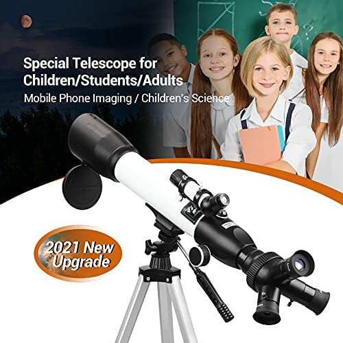 516cgEz4mrS. AC  - [Upgraded] Telescope, Astronomy Telescope for Adults, 60mm Aperture 500mm AZ Mount Astronomical Refracting Telescope for Kids Beginners with Adjustable Tripod, Phone Adapter, Nylon Bag