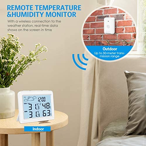 5175Gc6oSVL. AC  - Brifit Weather Station, Digital Indoor Outdoor Thermometer Hygromete, Home Weather Forecaster Station, Wireless Temperature and Humidity Monitor with Remote Sensor, Backlight, Time, Alarm Clock