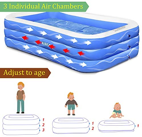 """517tvF2XPYS. AC  - Inflatable Swimming Pool Family Full-Sized Inflatable Pools 118"""" x 72"""" x 22"""" Thickened Family Lounge Pool for Toddlers, Kids & Adults Oversized Kiddie Pool Outdoor Blow Up Pool for Backyard, Garden"""
