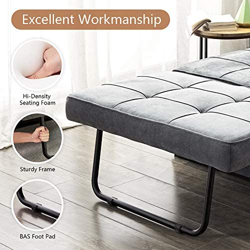 51Bkvt1KxtL. AC  - Vonanda Ottoman Folding Chair Bed, Modern Velvet Sleeper Sofa Multi-Position Convertible Couch Lounger Guest Bed with Pillow for Small Space, Velvet Gray