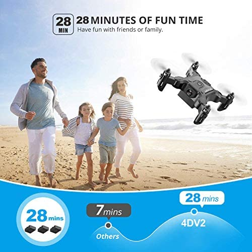 51CCy3KdvgL. AC  - 4DRC V2 Foldable Mini Nano Drone for Kids Beginners Gift,Pocket RC Quadcopter with 3 Batteries,Altitude Hold, Headless Mode, 3D Flips, One Key Return, 3 Speed Modes, Easy Fly for Beginners Boys Girls