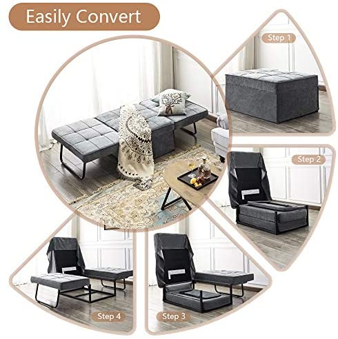 51DyJMFLguL. AC  - Vonanda Ottoman Folding Chair Bed, Modern Velvet Sleeper Sofa Multi-Position Convertible Couch Lounger Guest Bed with Pillow for Small Space, Velvet Gray