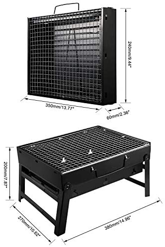 51Edyhl9QlL. AC  - UTTORA Barbecue Grill, Charcoal Grill Portable Folding BBQ Grill Barbecue Desk Tabletop Outdoor Stainless Steel Smoker BBQ for Picnic Garden Terrace Camping Travel 15.35''x11.41''x2.95''