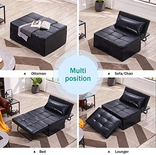 51KYlgB3psL. AC  - Vonanda Leather Ottoman Sofa Bed, Small Modern Couch Multi-Position Convertible Comfortable and Durable Leather Couch Lounger Guest Bed with Pillow for Small Space, Black