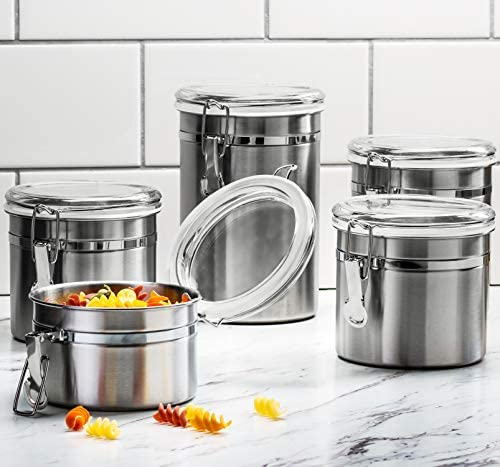 51OJJcSTCPL. AC  - Le'raze [Set of 5] Stainless Steel Airtight Canister Set, Durable Stackable Caddy & Food Storage Container for Kitchen Counter, Tea, Sugar, Coffee, Candy, Flour Canister with Clear Acrylic Lids & Locking Clamp