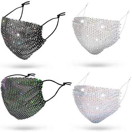 51PSs+7+zzL. AC  - Sparkly Rhinestone Mesh Face Mask Masquerade Mask for Women Glitter Face Mask Bling Face Mask Christmas Party
