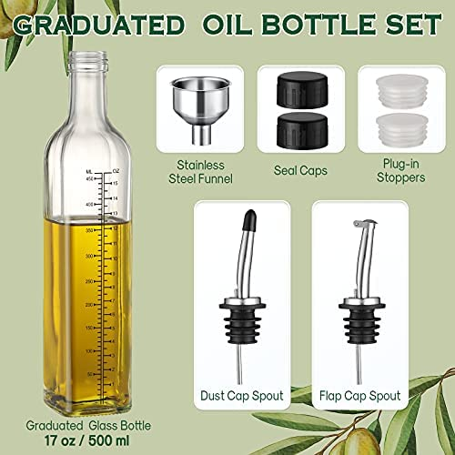 51ROe9O661S. AC  - Aozita 17oz Glass Olive Oil Dispenser Bottle - 500ml Clear -Oil & Vinegar Cruet with Pourers and Funnel - Olive Oil Carafe Decanter for Kitchen
