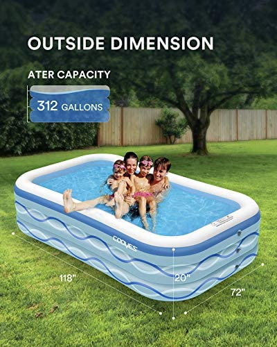 """51UWIh5+6HL. AC  - COOYES Inflatable Pool, Swimming Pool for Kids 118"""" X 72"""" X 20"""" Full-Sized Inflatable Kiddie Pool for Outdoor, Garden, Summer Water Party"""