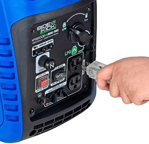 51UufU633TL. AC  - DuroMax XP2200EH Dual Fuel Portable Inverter Generator-2200 Watt Gas or Propane Powered Tailgate, Camping & RV Ready, 50 State Approved, Blue