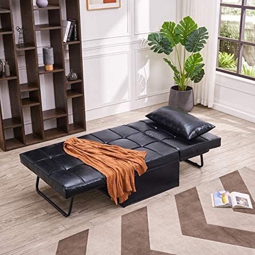 51VhWAKW8NL. AC  - Vonanda Leather Ottoman Sofa Bed, Small Modern Couch Multi-Position Convertible Comfortable and Durable Leather Couch Lounger Guest Bed with Pillow for Small Space, Black