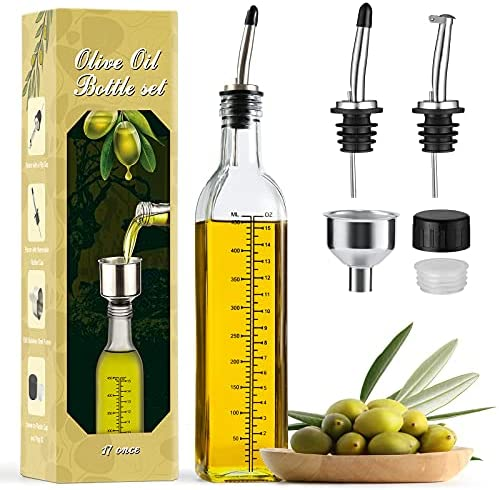 51X7XL3tF9S. AC  - Aozita 17oz Glass Olive Oil Dispenser Bottle - 500ml Clear -Oil & Vinegar Cruet with Pourers and Funnel - Olive Oil Carafe Decanter for Kitchen
