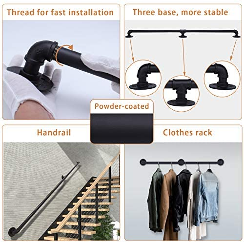 51aW3drzmkL. AC  - Muzata Handrail for Indoor Stairs, Black Metal Railing Non-Slip Industrial Galvanized Steel Pipe Wall Mount Hand Rail 5Ft 2 Sections HW20 BPG, HR1