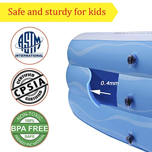 """51bj9FbdOsL. AC  - Inflatable Swimming Pool Family Full-Sized Inflatable Pools 118"""" x 72"""" x 22"""" Thickened Family Lounge Pool for Toddlers, Kids & Adults Oversized Kiddie Pool Outdoor Blow Up Pool for Backyard, Garden"""