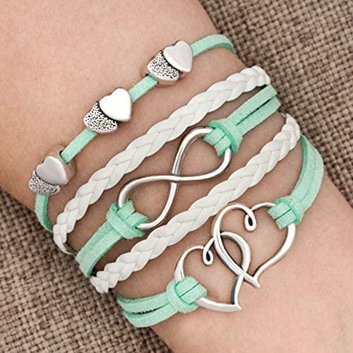 51diY L3fiL. AC  - Hithop Leather Wrap Bracelets Girls Double Hearts Infinity Rope Wristband Bracelets Gifts (Green)