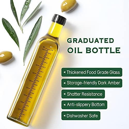 51eqF1F8emS. AC  - Aozita 17oz Glass Olive Oil Dispenser Bottle - 500ml Clear -Oil & Vinegar Cruet with Pourers and Funnel - Olive Oil Carafe Decanter for Kitchen