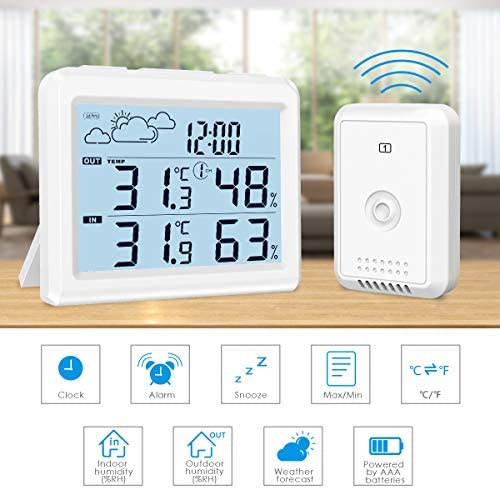 51iTenmHX2L. AC  - Brifit Weather Station, Digital Indoor Outdoor Thermometer Hygromete, Home Weather Forecaster Station, Wireless Temperature and Humidity Monitor with Remote Sensor, Backlight, Time, Alarm Clock