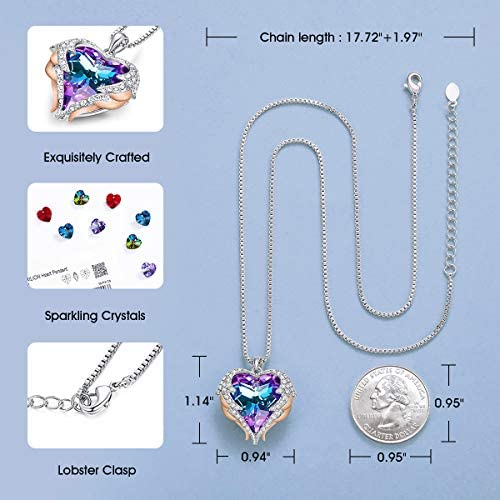 51iYd0x3QyL. AC  - CDE Angel Wing Love Heart Necklaces for Women, Silver Tone/Gold Tone Pendant Necklace Jewelry Gifts for Her on Christmas, Valentine's/Mother's Day, Anniversary, Birthday Gifts for Women Girls Wife Girlfriend