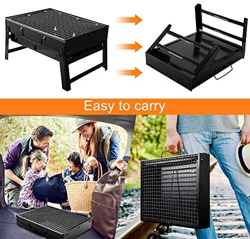 51lRpFzhXYL. AC  - UTTORA Barbecue Grill, Charcoal Grill Portable Folding BBQ Grill Barbecue Desk Tabletop Outdoor Stainless Steel Smoker BBQ for Picnic Garden Terrace Camping Travel 15.35''x11.41''x2.95''