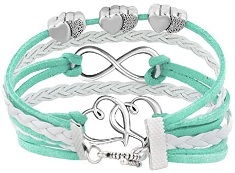 51m+QI2Fq4L. AC  - Hithop Leather Wrap Bracelets Girls Double Hearts Infinity Rope Wristband Bracelets Gifts (Green)