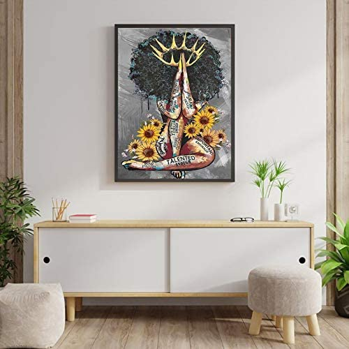 51mKFrLYciL. AC  - American Wall Art Black Queen Girl Praying Portrait Gray Art Modern Abstract Canvas Prints Painting Artwork Wall Decor Home Decoration for Bedroom Living Room